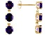 2.58ctw Round Uruguayan Amethyst 14k Yellow Gold 3-Stone Dangle Earrings