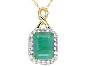 Green Brazilian Emerald 10k Yellow Gold Pendant With Chain 1.72ctw.