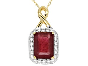 Mahaleo Ruby 10k Yellow Gold Pendant With Chain 1.92ctw.