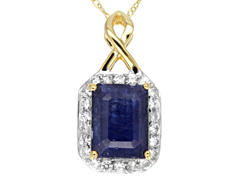 Blue Sapphire 10k Yellow Gold Pendant With Chain 1.92ctw.