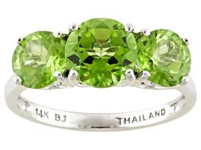 Green Peridot 14k White Gold Ring 3.46ctw.
