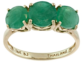 Green Brazilian Emerald 14k Yellow Gold Ring 2.03ctw.