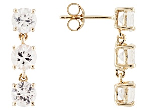 White Zircon 14k Yellow Gold 3-Stone Earrings 4.50ctw.