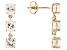 White Zircon 14k Yellow Gold 3-Stone Earrings 4.50ctw.