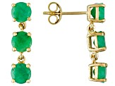 Green Brazilian Emerald 14k Yellow Gold 3-Stone Earrings 2.52ctw.