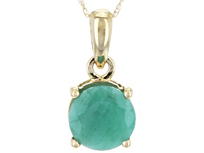 Green Brazilian Emerald 14k Yellow Gold Solitaire Pendant With Chain 1.70ctw.