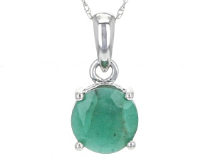 Green Brazilian Emerald 14k White Gold Pendant With Chain 1.70ctw.