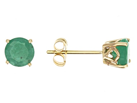 Green Brazilian Emerald 14k Yellow Gold Stud Earrings 1 27ctw