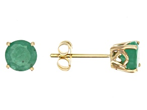 Green Brazilian Emerald 14k Yellow Gold Stud Earrings 1.27ctw.