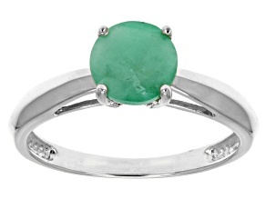 Green Brazilian Emerald 14k White Gold Ring 1.17ctw.