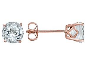 Blue Aquamarine 14k Rose Gold Stud Earrings 1.20ctw.