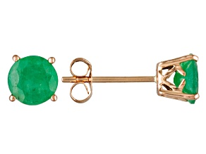 Green Brazilian Emerald 14k Rose Gold Earrings 1.27ctw.