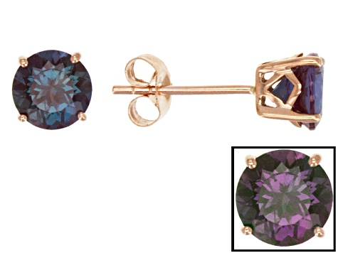Color Change Lab Created Alexandrite 14k Rose Gold Stud Earrings 1.70ctw.
