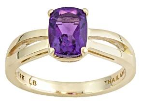 Purple African Amethyst 14k Yellow Gold Ring 1.30ct.