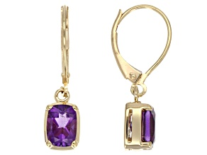 Purple Amethyst 14k Yellow Gold Earrings 1.86ctw.