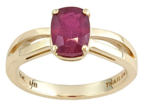 Red Mahaleo® Ruby 14k Yellow Gold Ring 2.15ct.