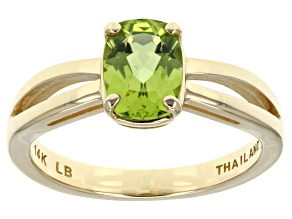 Green Peridot 14k Yellow Gold Ring 1.19ct.