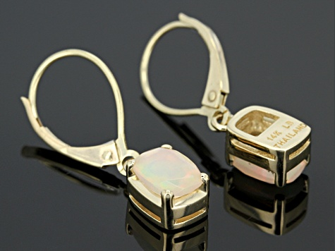 Multi Color Ethiopian Opal 14k Yellow Gold Earrings 1.19ctw.