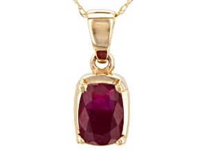 Red Mahaleo®  Ruby 14k Yellow Gold Pendant With Chain 1.36ct.