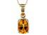 Yellow Madiera Citrine 14k Yellow Gold Pendant With Chain .85ct.