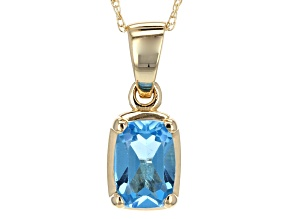 Swiss Blue Topaz 14k Yellow Gold Pendant With Chain .81ct.