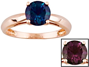 Color Change Lab Created Alexandrite 14k Rose Gold Ring 1.66ct.
