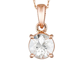 White Zircon 14k Rose Gold Pendant With Chain 2.10ct.