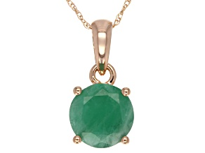 Emerald 14k Rose Gold Pendant With Chain 1.40ct.