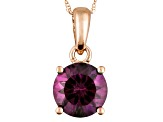 Color Change Lab Created Alexandrite 14k Rose Gold Pendant With Chain 2.33ct.