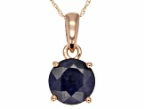 Blue Sapphire 14k Rose Gold Pendant With Chain 1.70ct.