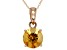 Yellow Citrine 14k Rose Gold Pendant With Chain 1.44ct.