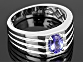 Blue Tanzanite 14k White Gold Gent's Ring .68ct.