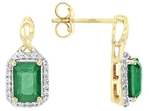 848ce527e Green Emerald 10k Yellow Gold Earrings 2.99ctw. - LLS225 | JTV.com
