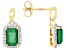 Green Emerald 10k Yellow Gold Earrings 2.99ctw.