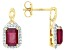 Red Mahaleo® Ruby 10k Yellow Gold Earrings 3.14ctw.