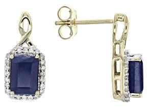 Blue Sapphire 10k Yellow Gold Earrings 2.44ctw.