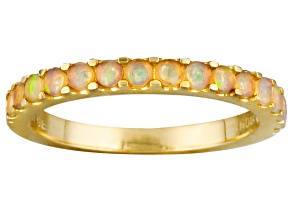Multi Color Ethiopian Opal 10k Yellow Gold Band Ring .40ctw.