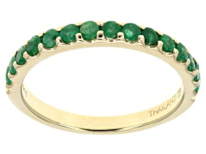 Green Emerald 10k Yellow Gold Band Ring .59ctw