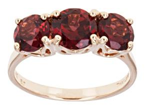 Red Garnet 14k Rose Gold 3-Stone Ring 3.06ctw