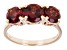 Red Garnet 14k Rose Gold 3-Stone Ring 3.06ctw