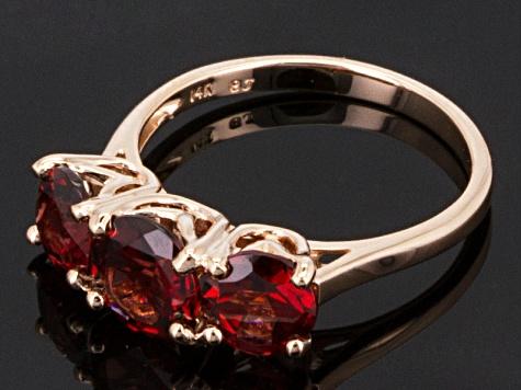bb9aa8f894b97 Red Garnet 14k Rose Gold 3-Stone Ring 3.06ctw
