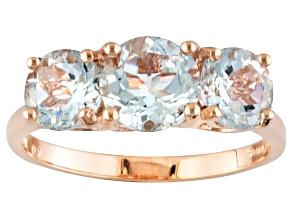 Blue Aquamarine 14k Rose Gold Ring 2.20ctw