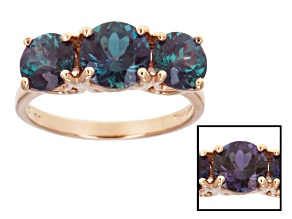 Blue Color Change Lab Alexandrite 14k Rose Gold 3-Stone Ring 3.10ctw