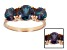 Blue Color Change Lab Alexandrite 14k Rose Gold 3-Stone Ring 3.10ctw