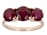 Red Mahaleo®  Ruby 14k Rose Gold 3-Stone Ring 3.81ctw