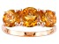 Yellow Citrine 14k Rose Gold 3-Stone Ring 2.46ctw