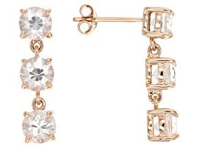 White Zircon 14k Rose Gold 3-Stone Earrings 3.78ctw