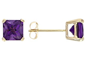 Purple Amethyst 14k Yellow Gold Stud Earrings 2.00ctw