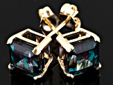 Blue Lab Created Alexandrite 14k Yellow Gold Stud Earrings 2.74ctw