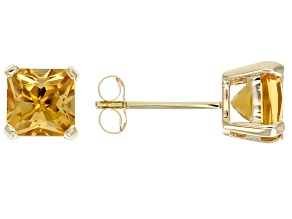 Yellow Citrine 14k Yellow Gold Stud Earrings 2.04ctw